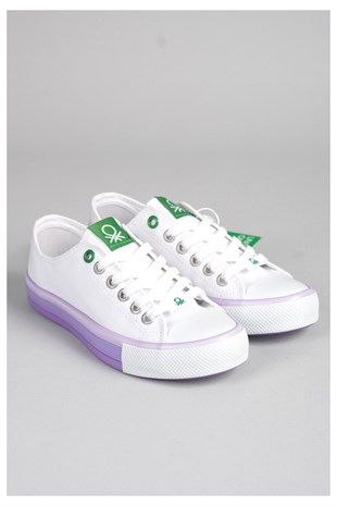 United Colors Of Benetton Bn30176  Convers Model Keten Ayakkabi Beyaz-Lila